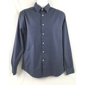 Button-Front Shirt Dark Blue Long Sleeves L